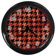 Houndstooth1 Black Marble & Copper Paint Wall Clocks (black) by trendistuff