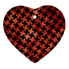 Houndstooth2 Black Marble & Copper Paint Heart Ornament (two Sides) by trendistuff