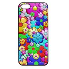 Flowers Ornament Decoration Apple Iphone 5 Seamless Case (black) by Celenk