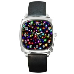 Fireworks Rocket New Year S Day Square Metal Watch