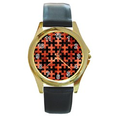 Puzzle1 Black Marble & Copper Paint Round Gold Metal Watch by trendistuff