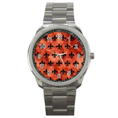 Royal1 Black Marble & Copper Paint (r) Sport Metal Watch by trendistuff