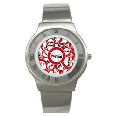 Overtaking Traffic Sign Stainless Steel Watch by Celenk