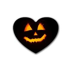 Pumpkin Helloween Face Autumn Heart Coaster (4 Pack)  by Celenk
