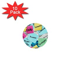 Stickies Post It List Business 1  Mini Buttons (10 Pack)  by Celenk