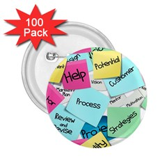 Stickies Post It List Business 2 25  Buttons (100 Pack)  by Celenk