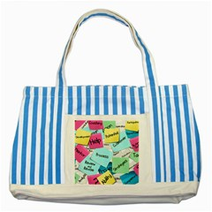 Stickies Post It List Business Striped Blue Tote Bag by Celenk