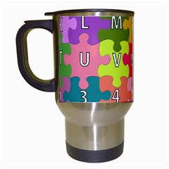 Puzzle Part Letters Abc Education Travel Mugs (white) by Celenk