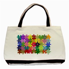 Puzzle Part Letters Abc Education Basic Tote Bag by Celenk