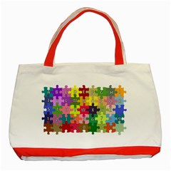 Puzzle Part Letters Abc Education Classic Tote Bag (red) by Celenk