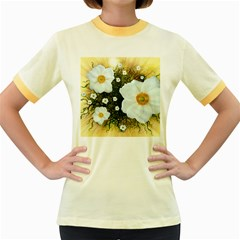 Summer Anemone Sylvestris Women s Fitted Ringer T Shirts by Celenk