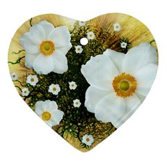 Summer Anemone Sylvestris Heart Ornament (two Sides) by Celenk