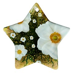 Summer Anemone Sylvestris Star Ornament (two Sides) by Celenk