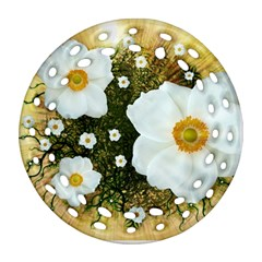 Summer Anemone Sylvestris Round Filigree Ornament (two Sides) by Celenk