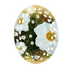 Summer Anemone Sylvestris Ornament (oval Filigree) by Celenk
