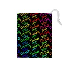 Thank You Font Colorful Word Color Drawstring Pouches (medium)  by Celenk