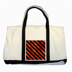 Stripes3 Black Marble & Copper Paint Two Tone Tote Bag by trendistuff