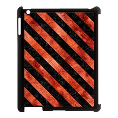 Stripes3 Black Marble & Copper Paint Apple Ipad 3/4 Case (black) by trendistuff