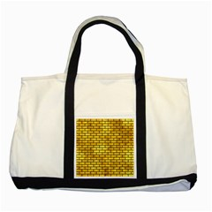 Brick1 Black Marble & Gold Paint Two Tone Tote Bag by trendistuff