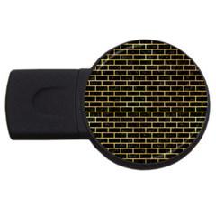 Brick1 Black Marble & Gold Paint (r) Usb Flash Drive Round (4 Gb) by trendistuff