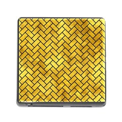 Brick2 Black Marble & Gold Paint Memory Card Reader (square) by trendistuff