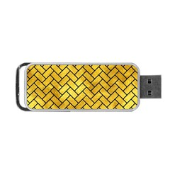 Brick2 Black Marble & Gold Paint Portable Usb Flash (two Sides) by trendistuff
