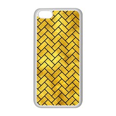 Brick2 Black Marble & Gold Paint Apple Iphone 5c Seamless Case (white) by trendistuff