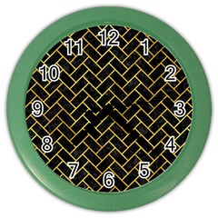 Brick2 Black Marble & Gold Paint (r) Color Wall Clocks by trendistuff