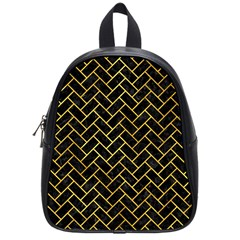 Brick2 Black Marble & Gold Paint (r) School Bag (small) by trendistuff