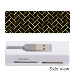 Brick2 Black Marble & Gold Paint (r) Memory Card Reader (stick)  by trendistuff