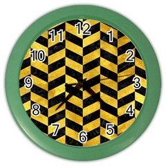 Chevron1 Black Marble & Gold Paint Color Wall Clocks by trendistuff