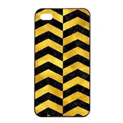 Chevron2 Black Marble & Gold Paint Apple Iphone 4/4s Seamless Case (black) by trendistuff
