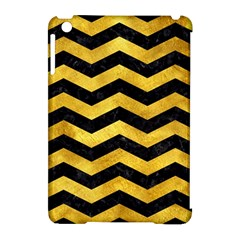 Chevron3 Black Marble & Gold Paint Apple Ipad Mini Hardshell Case (compatible With Smart Cover) by trendistuff