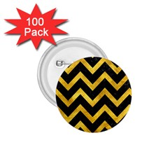 Chevron9 Black Marble & Gold Paint (r) 1 75  Buttons (100 Pack)  by trendistuff