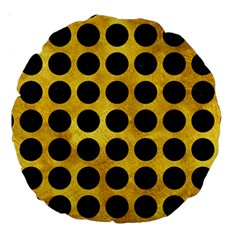 Circles1 Black Marble & Gold Paint Large 18  Premium Round Cushions by trendistuff