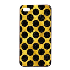 Circles2 Black Marble & Gold Paint Apple Iphone 4/4s Seamless Case (black) by trendistuff