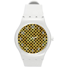 Circles3 Black Marble & Gold Paint (r) Round Plastic Sport Watch (m) by trendistuff