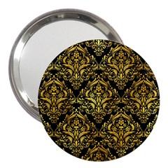 Damask1 Black Marble & Gold Paint (r) 3  Handbag Mirrors by trendistuff