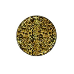 Damask2 Black Marble & Gold Paint (r) Hat Clip Ball Marker by trendistuff
