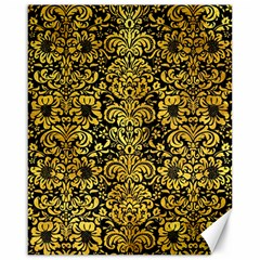 Damask2 Black Marble & Gold Paint (r) Canvas 16  X 20   by trendistuff
