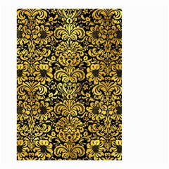 Damask2 Black Marble & Gold Paint (r) Small Garden Flag (two Sides) by trendistuff