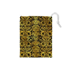Damask2 Black Marble & Gold Paint (r) Drawstring Pouches (small)  by trendistuff