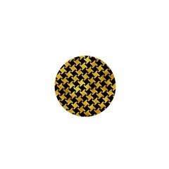 Houndstooth2 Black Marble & Gold Paint 1  Mini Buttons by trendistuff