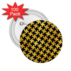Houndstooth2 Black Marble & Gold Paint 2 25  Buttons (100 Pack)  by trendistuff