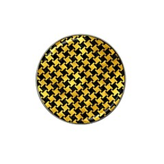 Houndstooth2 Black Marble & Gold Paint Hat Clip Ball Marker (4 Pack) by trendistuff