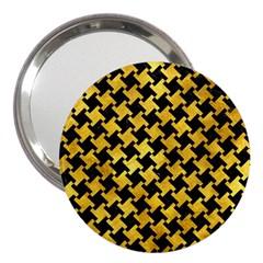 Houndstooth2 Black Marble & Gold Paint 3  Handbag Mirrors by trendistuff