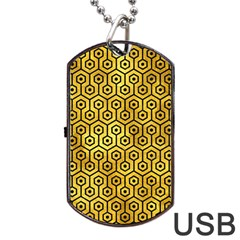 Hexagon1 Black Marble & Gold Paint Dog Tag Usb Flash (one Side) by trendistuff