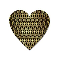 Hexagon1 Black Marble & Gold Paint (r) Heart Magnet by trendistuff