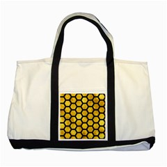 Hexagon2 Black Marble & Gold Paint Two Tone Tote Bag by trendistuff