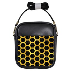 Hexagon2 Black Marble & Gold Paint (r) Girls Sling Bags by trendistuff